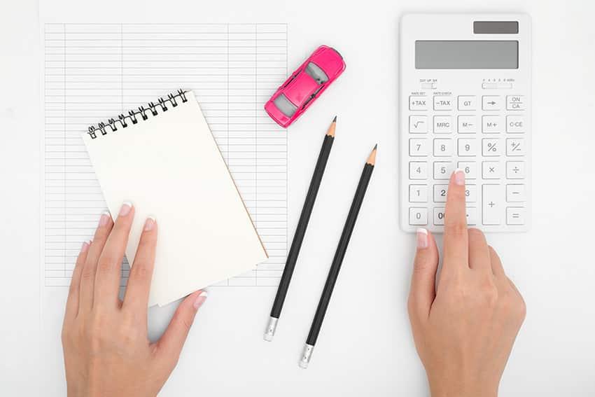 מחשבון וניירות על גבי שולחן עבודה